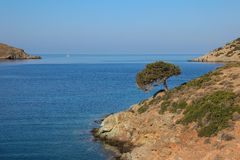 Beautiful landscape in Kolona beach Kythnos island Cyclades Greece. Travel destinations September 2018. Horizontal royalty free stock images