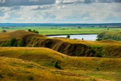 Beautiful landscape in Konstantinovo, Russia - the birthplace of russian poet Sergei Yesenin Stock Photo