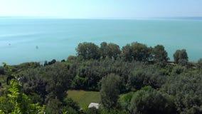 Beautiful landscape from a lake Balaton stock video footage