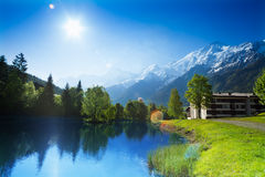 Beautiful landscape with lake in Chamonix, France Stock Photography