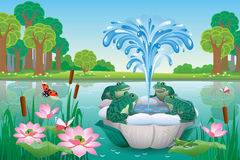 Beautiful landscape with lake and fountain with frogs. Vector illustration of summer landscape with lake and fountain with frogs Stock Photography