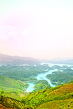 Beautiful landscape, lake and mountain. A beautiful landscape view in Viet Nam Royalty Free Stock Image