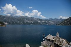 Beautiful landscape with lake and mountains, Boko Kotor, Montenegro. Wonderful view of Boko Kotor in south of Europe Stock Photography