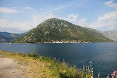 Beautiful landscape with lake and mountains, Boko Kotor, Montenegro. Wonderful view of Boko Kotor in south of Europe Stock Image