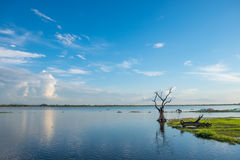 Beautiful landscape of lake and sky at U-Bein bridge, Mandalay, Stock Photo
