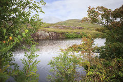 Beautiful landscape with a lake and vegetation. Stock Photo