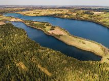 Beautiful landscape with lakes and fields - drone view royalty free stock image