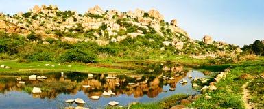 Beautiful landscape with large rocks near Hampi, India Royalty Free Stock Photos