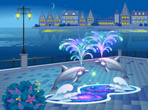 Beautiful landscape with lighted fountain with dolphins. Illustration of a beautiful evening with a luminous fountain with dolphins on the waterfront Stock Photos