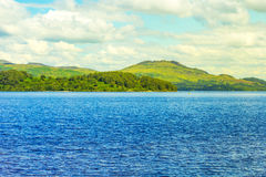 Beautiful landscape with Loch Lomond lake in Luss, Argyll&Bute in Scotland, UK Royalty Free Stock Photos