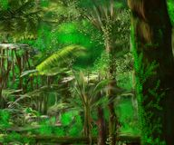 A beautiful tropical forest full of life. A beautiful landscape with lots of natural green plants, trees, mosses and leaves. In the scene we also see creepers stock illustration