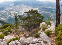 Beautiful landscape - The Lycian Way in Olympos Beydagları National Park with a view of mountains the Western Taurus. Antalya Province, Turkey Royalty Free Stock Photos