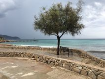 Beautiful landscape in Mallorca, Cala Bona,Spain - summer holiday. Beautiful seaside landscape in Mallorca, Cala Bona, after the rain Royalty Free Stock Photos