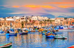 Beautiful landscape of Malta, Marsaxlokk Valletta port Royalty Free Stock Photo