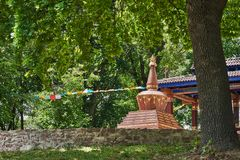 Beautiful landscape with Mandala and Buddhist Stupa royalty free stock image