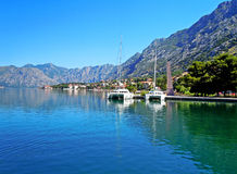 Beautiful landscape with mediterranean town - Kotor bay Royalty Free Stock Image
