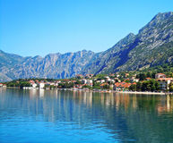 Beautiful landscape with mediterranean town - Kotor bay Stock Photos