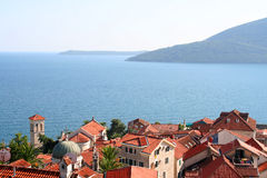 Beautiful landscape with mediterranean town Stock Photography
