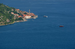 Beautiful landscape with Mediterranean town ,sea and mountains. Montenegro seashore, boats and yachts. Stock Photos