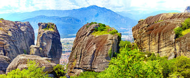 Beautiful landscape of Meteora rocks at sunrise, Greece Royalty Free Stock Photography