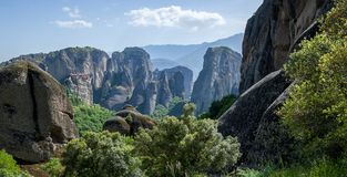 Beautiful landscape of Meteora at a sunny day. Greece, summer, sun Royalty Free Stock Photography