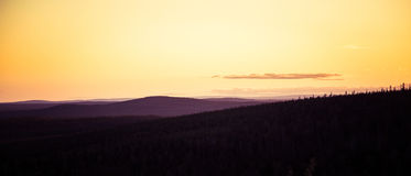 A beautiful landscape with a midnight sun above arctic circle. Stock Photography