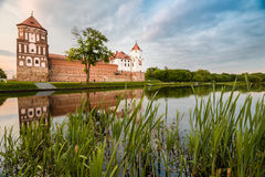 Beautiful landscape with Mir castle in Belarus. Royalty Free Stock Photos