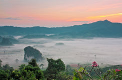 Beautiful landscape of misty valley and sierra in Thailand Stock Image
