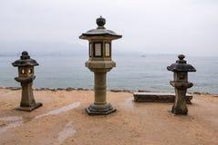 Beautiful landscape of Miyajima island. With stone lantern stock photos