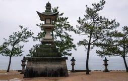 Beautiful landscape of Miyajima island. With stone lantern and pine tree stock image