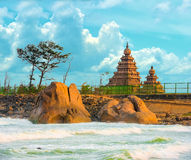 Beautiful landscape of monolithic famous Shore Temple near Mahab Royalty Free Stock Photo