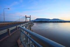 Beautiful landscape with morning light of laos japan bridge cros Royalty Free Stock Images