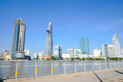 Beautiful landscape in the morning of saigon river, Center of Ho chi Minh City Royalty Free Stock Photo