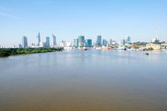 Beautiful landscape in the morning of saigon river, Center of Ho chi Minh City Royalty Free Stock Photos