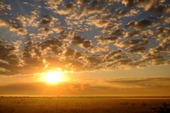 Beautiful landscape of morning sunrise with fog and clouds. Stock Photo
