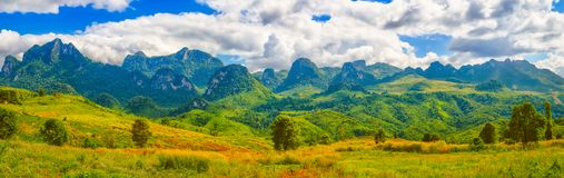 Beautiful landscape, mountain on background.Vang Vieng, Laos. P Royalty Free Stock Photo