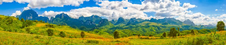 Beautiful landscape, mountain on background.Vang Vieng, Laos. P Stock Images