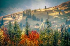 Free Beautiful Landscape Mountain Hill Meadow Sunrise Foggy Morning Village Bucovina Romania Stock Images - 161071354