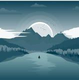 Beautiful landscape with mountain lake and fishing boat at dawn. Beautiful landscape with mountain lake and a fishing boat at dawn Royalty Free Stock Photo