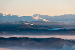Landscape of a mountain peak during winter season Royalty Free Stock Photography