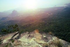 Beautiful landscape from mountain peak rock Stock Photo