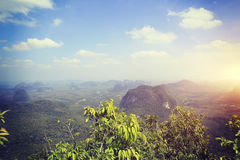 Beautiful landscape from mountain peak rock Royalty Free Stock Photo