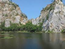 Beautiful landscape with mountain, sky, trees, lake at Khao Ngu Rock Park Thailand Stock Photography
