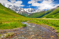 Beautiful landscape with mountain stream. Royalty Free Stock Image