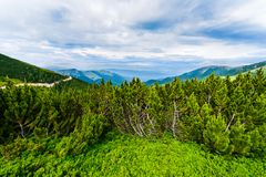 Beautiful landscape in the mountains with blue sky Royalty Free Stock Image
