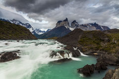Beautiful landscape with mountains and  river. Stock Photos
