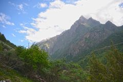 Beautiful landscape in mountains. Sky, clouds, mountains Royalty Free Stock Photo