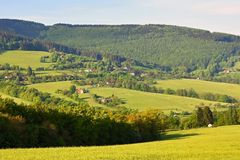 Beautiful landscape in the mountains in summer. Czech Republic - the White Carpathians - Europe. Royalty Free Stock Photography