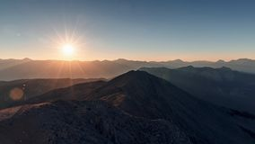 Beautiful landscape in the mountains at sunset. Lovely view of the Taurus Mountains from the top of mount Tahtali at sunset royalty free stock image