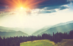 Beautiful landscape in the mountains at sunshine. Stock Photo